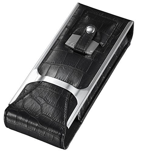 Visol Products Alton Leather Cigar Case, Cigar Cutter and Flask Travel Set, Black