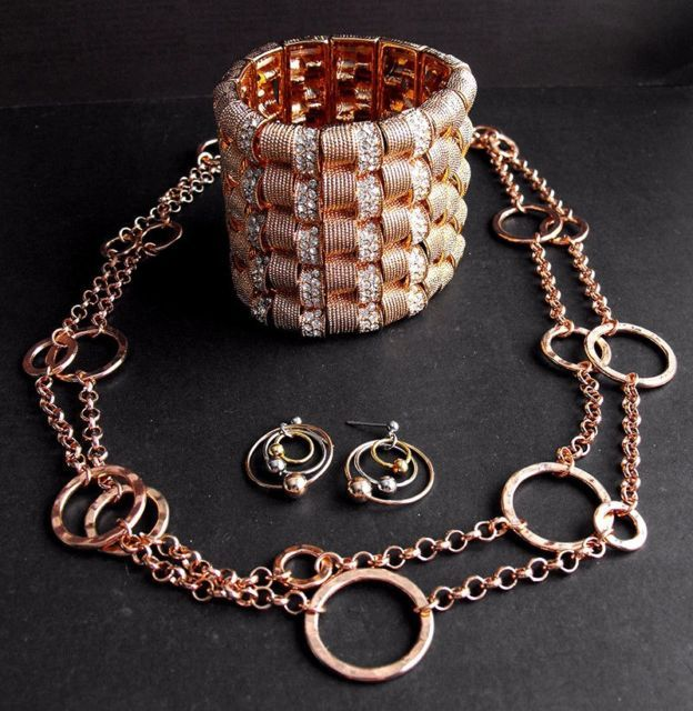 Mod Mixed Metals Rose Copper Necklace Earrings Rhinestone Bracelet Daisy Fuentes | eBay