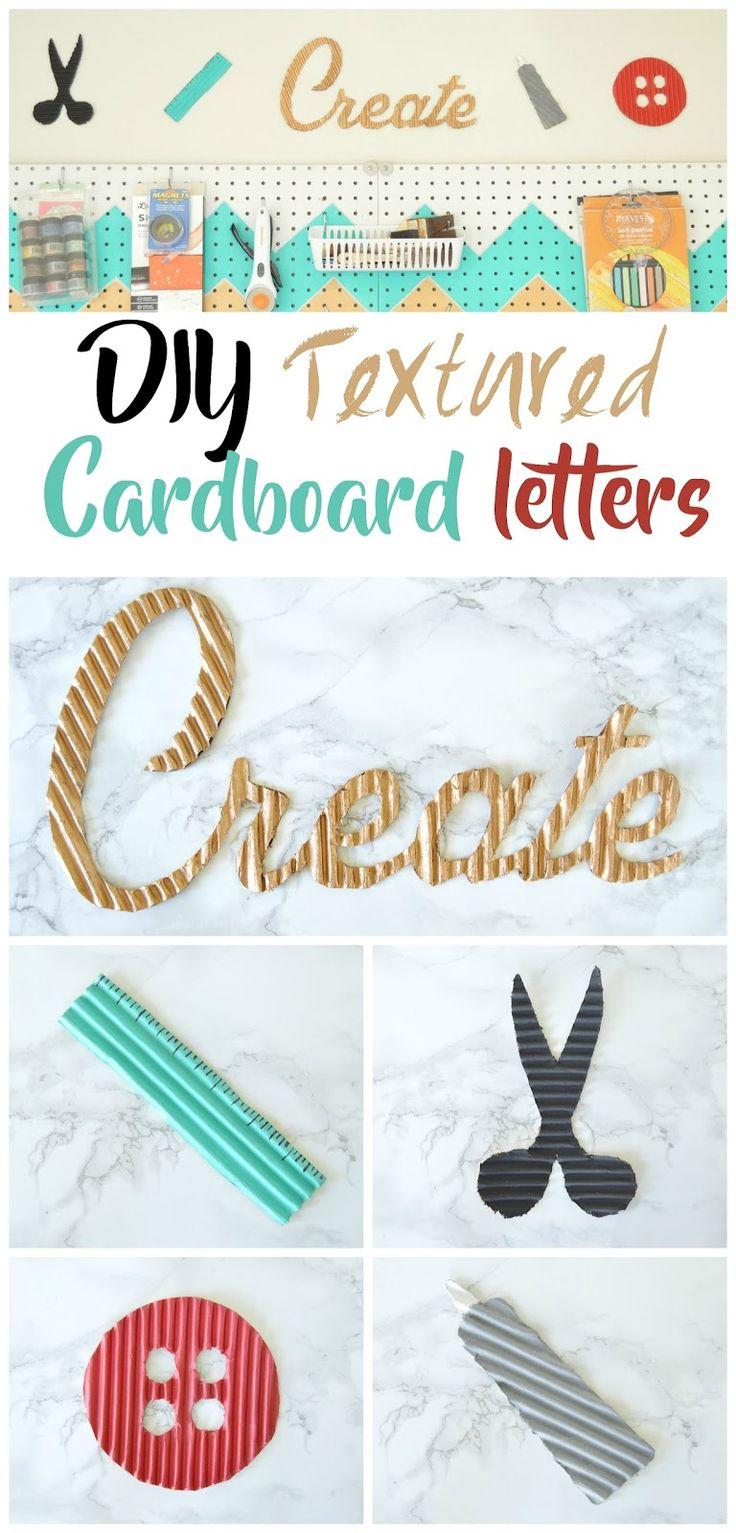 DIY Textured cardboard letters