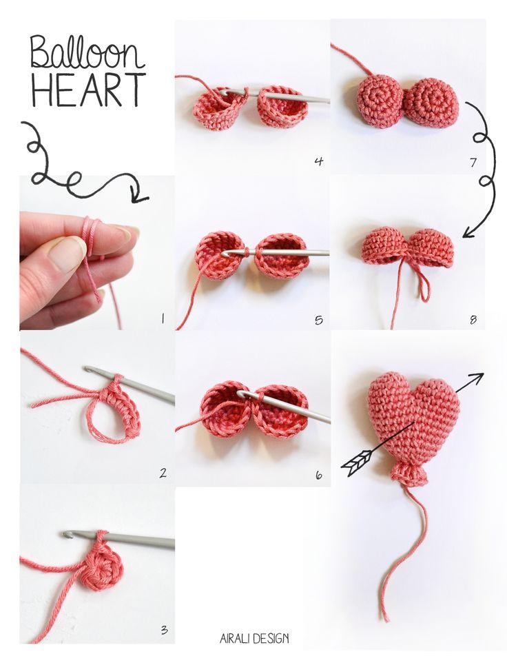 Amigurumi Globo del corazón - patrón de crochet libre - ganchillo globo del corazón - Diseño Airali