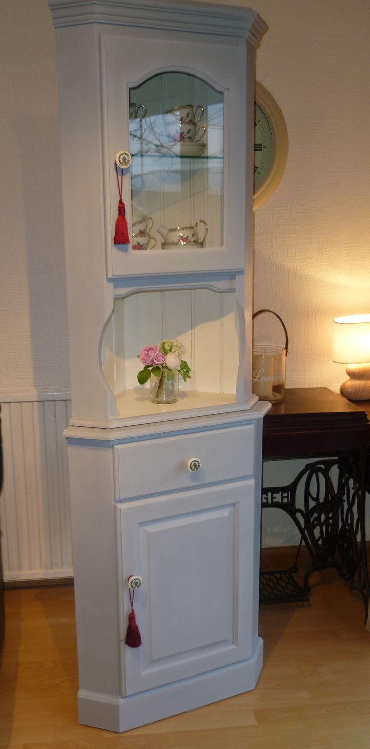 shabby chic pine corner unit painted Annie Sloan mix
