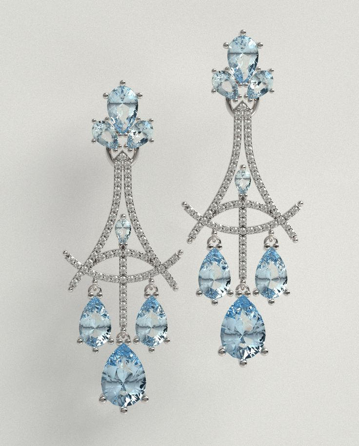 Something Blue - Wedding chandeliers in 18ct white gold with diamonds and blue topaz. © Kristen Malan 2015