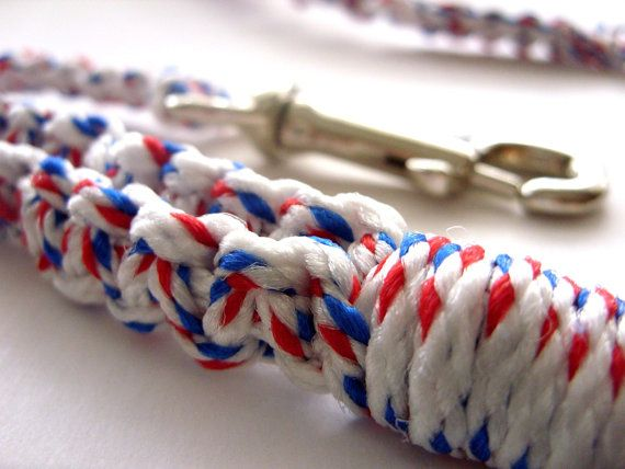 For 10% off - use Coupon Code PIN10 - Red White and Blue  Macrame  5' Pet Leash by Balilu on Etsy, $18.00