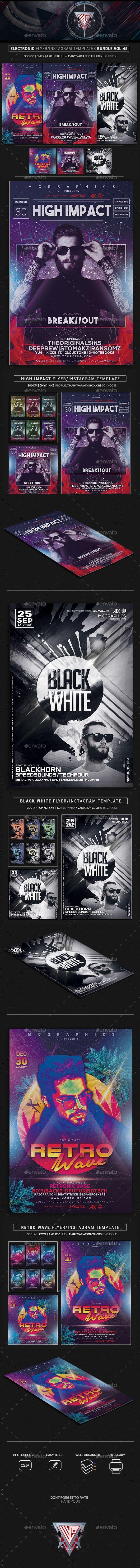 Electro #Music #Flyer/Instagram Bundle Vol. 45 - #Events Flyers Download here:  https://graphicriver.net/item/electro-music-flyerinstagram-bundle-vol-45/20339227?ref=alena994