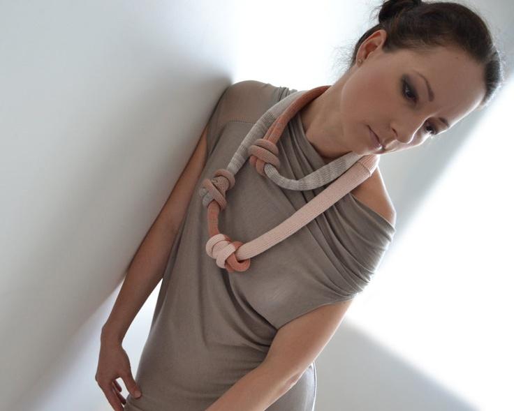 knitted okapi necklace, big pastel necklace, fashion Paris, France. $40.00, via Etsy.