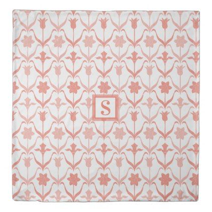 Art Nouveau Spring Bulbs  Monogram -l White Coral Duvet Cover - bridal shower gifts ideas wedding bride
