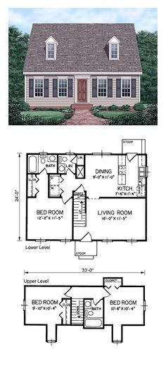 Cape Cod House Plan 45336 | Total Living Area: 1199 sq. ft., 3 bedrooms and 2.5 bathrooms. #houseplan #capecodhome