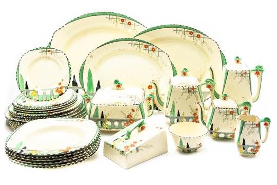 A Burleigh ware 'Riviera' Art Deco hand painted part dinner and tea set, including teapot, coffee  soup bowls, side plates, dinner plates, meat plates, jugs, tureen, butter dish etc, approx 30 pieces in total (2 boxes) Hansons Auctioneers Feb 2017. Price hidden