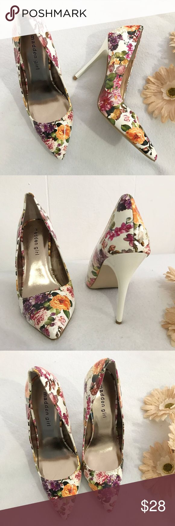 Madden Girl Cute Floral Heels Madden Girl Cute Floral Heels. SIZE: 7. Patent material. 3 inch heels high. Worn only once. No flaws. Like New condition. Madden Girl Shoes Heels