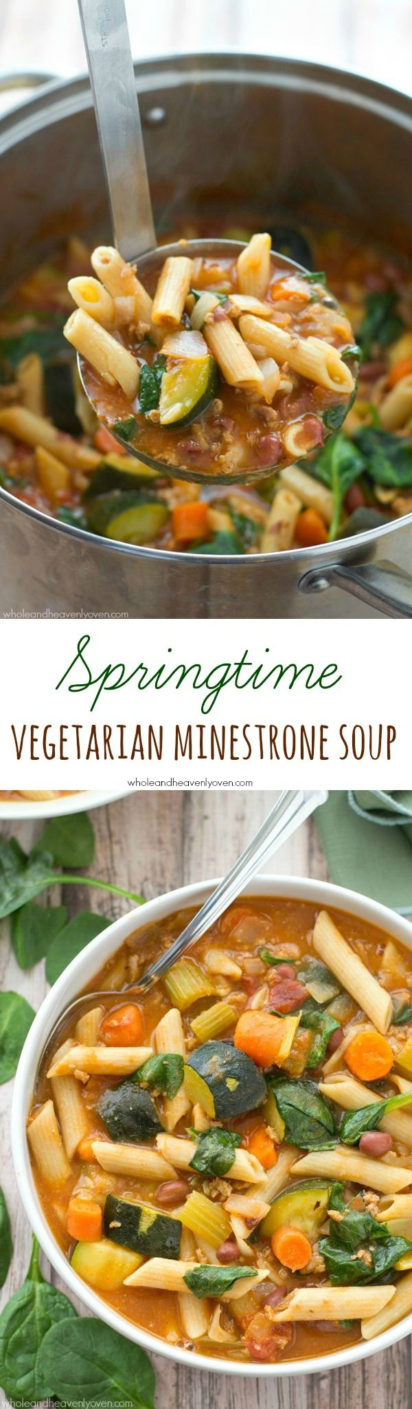 Cook up a hit for meatless Monday with this springtime vegetarian minestrone soup packed with spring veggies. Click in to read Whole and Heavenly Oven's recipe for this comforting vegetarian minestrone soup.