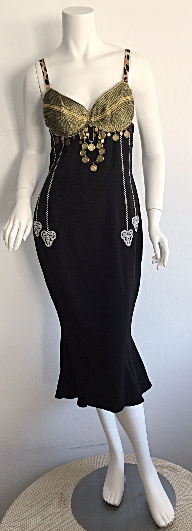 Super Rare Vintage Future Rifat Ozbek Sexy Ethnic Black Coin Dress | From a collection of rare vintage evening dresses at https://www.1stdibs.com/fashion/clothing/evening-dresses/