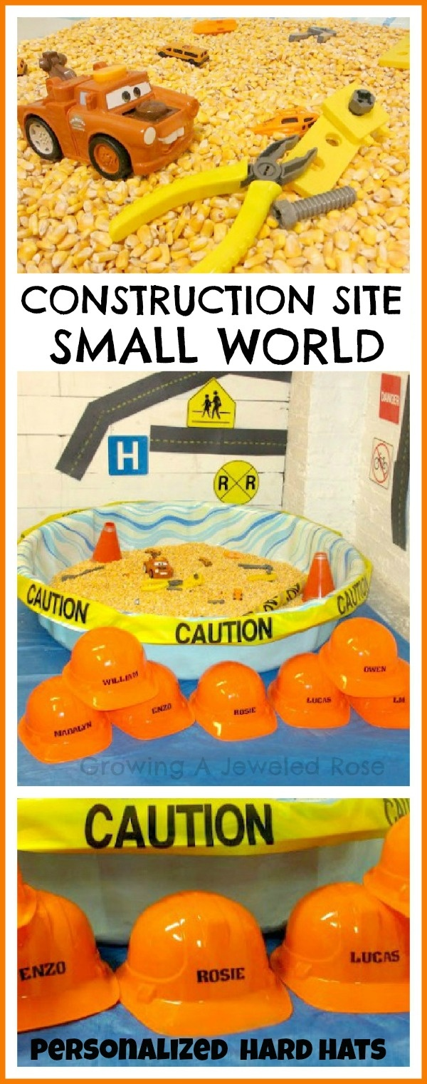 Create a construction site small world that kids can actually GET INTO!  This activity uses a small play pool and other frugal materials and my kids LOVED it!
