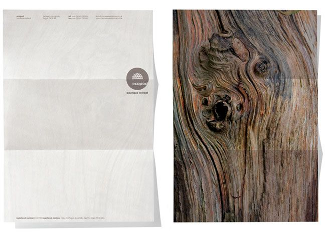 Ecopod letterhead. Contributed by Christian Eager, partner and designer at London-based Designers Anonymous. Ecopod is a luxury eco-friendly holiday retreat in the Scottish Highlands. The brand identity focused on the high quality of the experience, avoiding the clichés that go hand-in-hand with all things 'eco'.