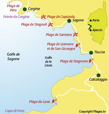 Carte des plages et stations balnéaires du golfe de Sagone en Corse