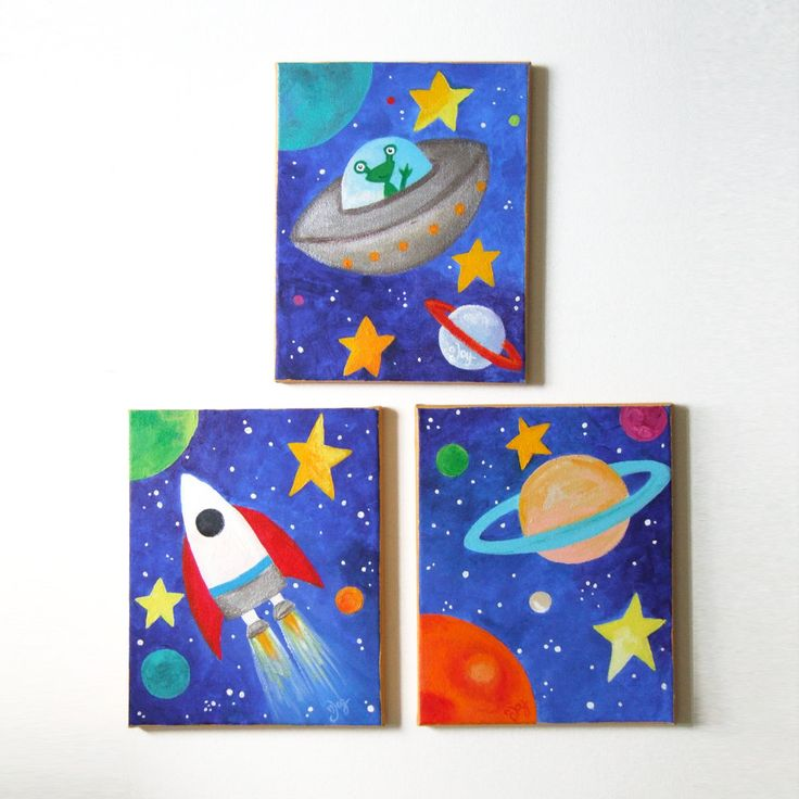 Kids wall art space art set set of 3 8x10 acrylic canvases space themed children 39 s decor for Canvas prints childrens bedrooms