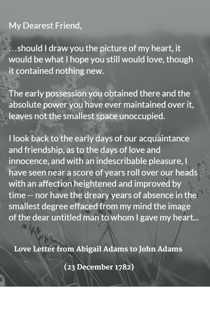 Love Letter from Abigail Adams to John Adams