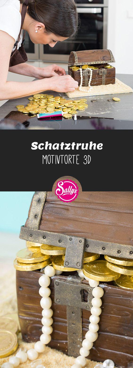 Ein Schokoladenkuchen in Form einer Schatzkiste – ein Motivkuchen   – Motivtorten / Fondant Cakes