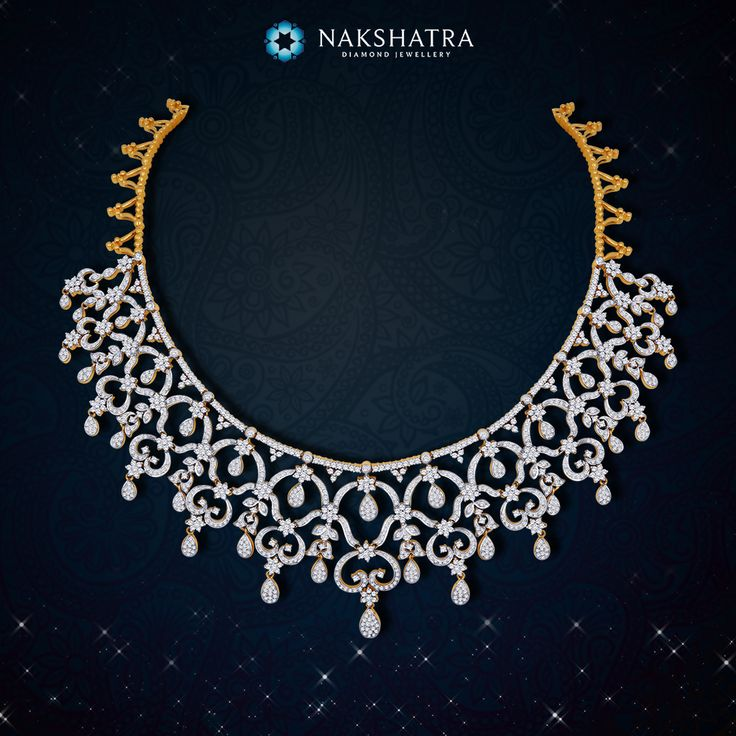 Grace your neck with magnificent stars for your wedding, pick this Nakshatra diamond necklace to be a divine bride.