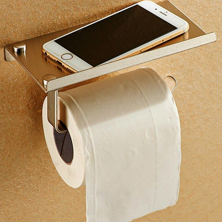 Toilet Paper Holder With Phone Storage Shelf