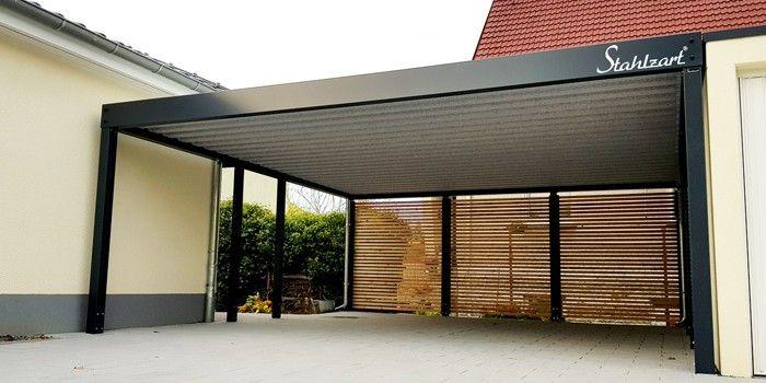 Doppel Carport Mit Gerateraum Metall Stahl Anthrazit Holz Stahlzart Building A Carport Carport Carport Designs