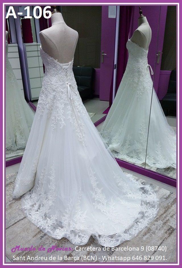 Elegante y original Vestido de Novia de Corte A con escote corazón, de Tul y encaje con pedrería, que puede transformarse en Princesa, de la marca Novias Ukraine.