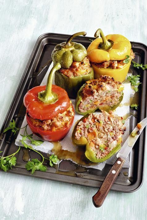 Pimientos con carne y verdura