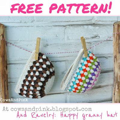 Cows and Pink: Happy granny hat pattern. ☀CQ #crochet #apparel http://www.pinterest.com/CoronaQueen/crochet-apparel-corona/