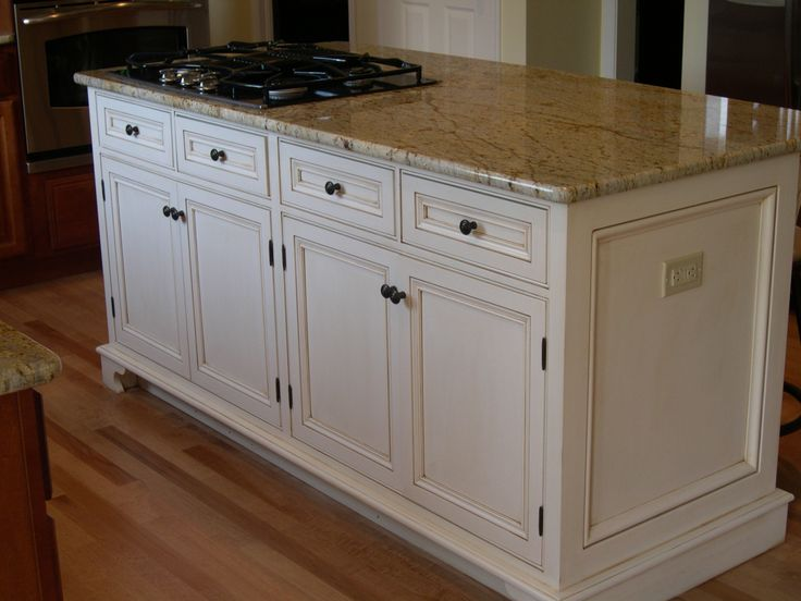 Glazed kitchen cabinets custom built center island for Kitchen center island cabinets