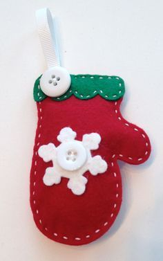 Red and White Christmas Felt Mitten Ornament