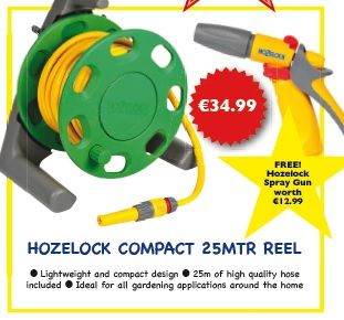 Happy Monday!   Find the new Hozelock Compact 25mtr Reel in your local Expert Hardware and online. PLUS get a FREE Hozelock Spray gun worth €12.99.