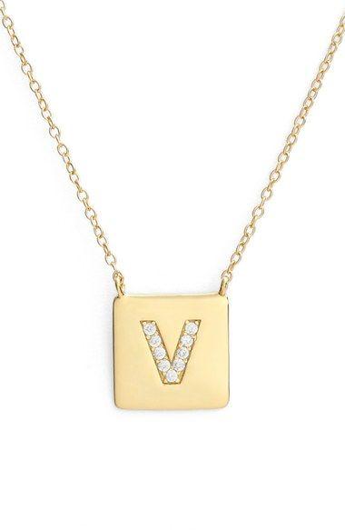 Argento Vivo Cubic Zirconia Initial Pendant Necklace (Nordstrom Online Exclusive)