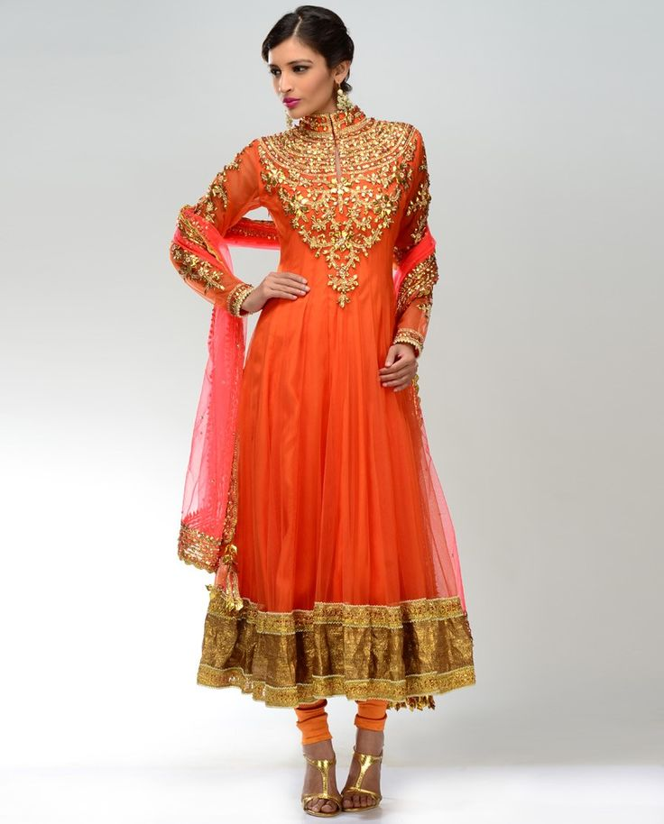 Tangerine Orange Anarkali Suit  by Preeti S. Kapoor