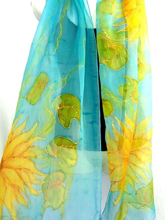 Hand Painted Silk Scarf, Floral, Sunflowers Silk Scarf, Light Turquoise Blue Golden Yellow, Silk Chiffon Scarf, Gift For Her