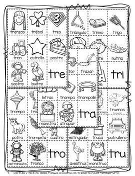 CARTELES y TARJETAS de sílabas trabadas CONSONANT BLENDS en palabras con TR