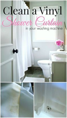 Tips on how to clean a vinyl shower curtain in your washing machine. So easy to do. http://www.chatfieldcourt.com