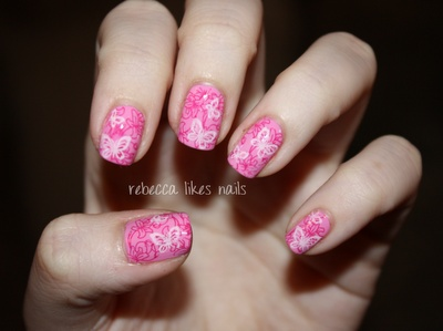 rebecca likes nails: Pink butterfly stamping nails using Konad stamper: Stamps Nails, Nails Stamps, Nails Pink, Nail Stamping, Nails Design, Nails Polish