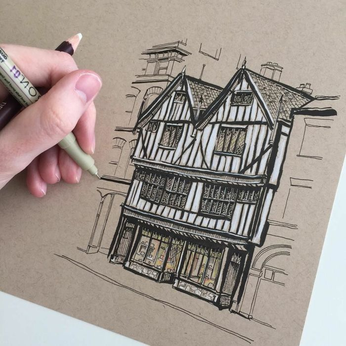 Drawing Of A Building Cool Drawing Ideas Old Architecture Black Pencil Sketch On White Background What To Draw Drawings Cute Easy Drawings