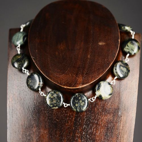 Supreme Nuturer  My #handmade Simple sterling silver #Kambaba #Jasper wire wrapped choker necklace  Finished with an handmade sterling silver S hook