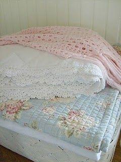 cozy pastelsGuest Room, Vintage Quilt, Blue Quilt, White Beds, Crochet Edging, Beds Linens, Soft Pastel, Pastel Vintage Bedrooms, Pastel Shabby Chic Bedrooms