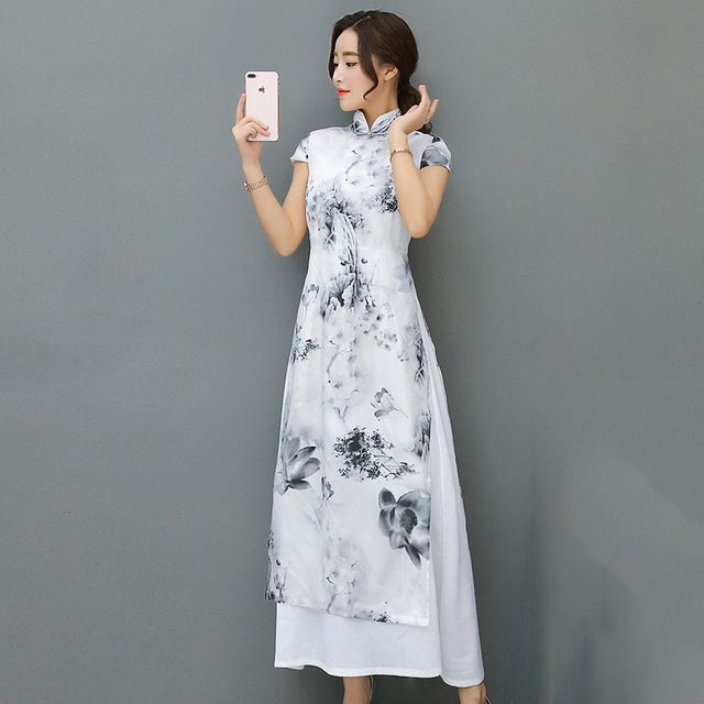 Fasbys New Chinese Traditional Long Dress Women's Cheongsam Qipao Stand Neck Ink Vintage Elegant Party Evening Wedding Dresses