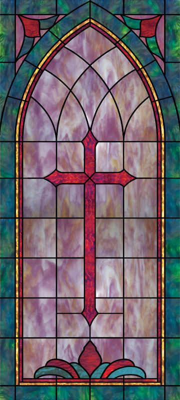 Religious stained glass window film church cross designs for Stained glass window church