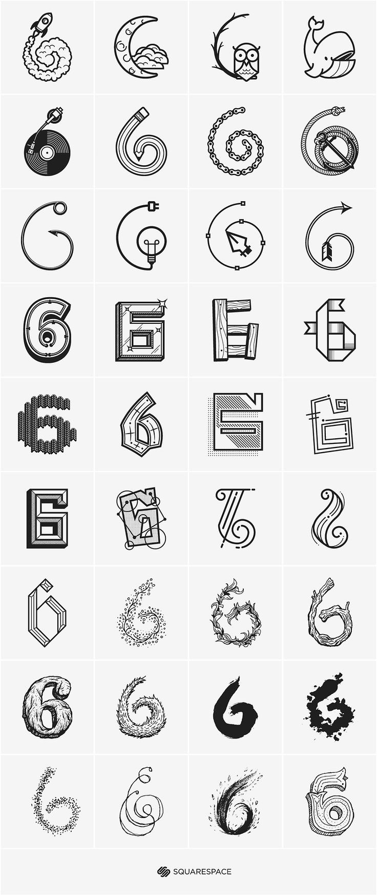 6 squared by Ryan Putnam.  I love how the artist demonstrates how a simple number six can be transformed so many different ways.  I am definitely using this as a sketchbook inspiration.  #6