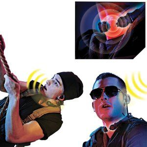 (Set of 2) Stealth Walkie Talkies: Throat Microphones & Attached Earpiece This is the throat microphone and is worn around the neck. It has an attached earpiece. http://awsomegadgetsandtoysforgirlsandboys.com/mens-toys-gadgets/ (Set of 2) Stealth Walkie Talkies: Throat Microphones & Attached Earpiece