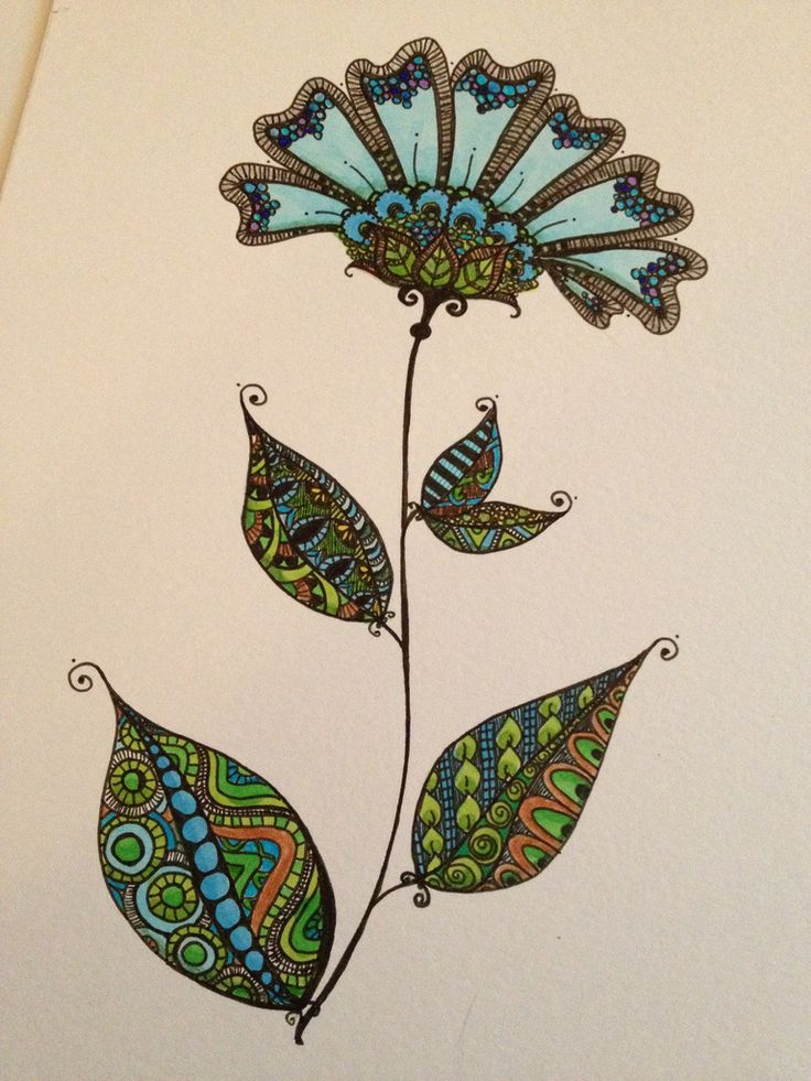Zentangled Doodle Flower
