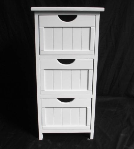Assembled White Shabby Chic Chest Of 3 Drawer Bedside Hallway Livingroom Cabinet