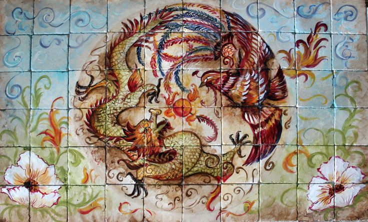 Hand-Painted Phoenix and Dragon Tile Mural. Tre Sorelle Studios has been creating gorgeous, fresh designs for the Home Decor, Tableware, Flooring,