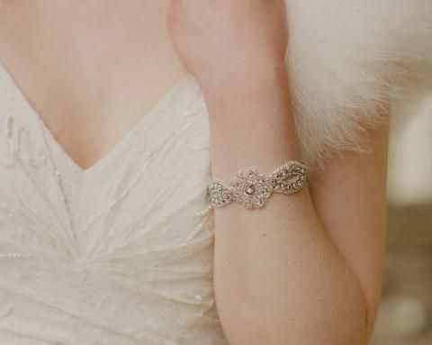 Wedding Bracelets - Wedding Cuff, Appliqué With Rhinestones, Marissa