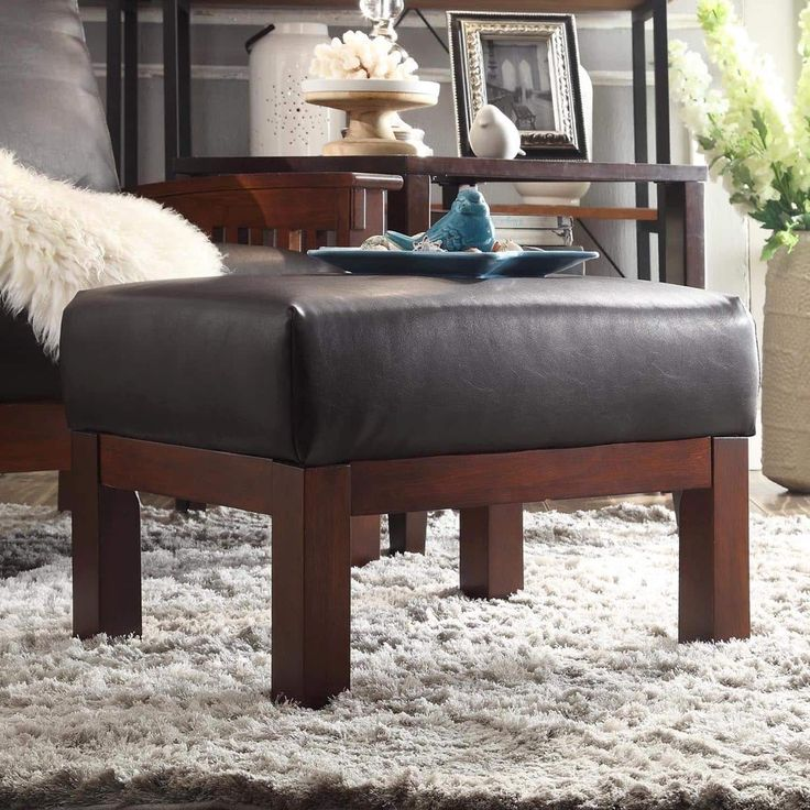 Hills Mission-style Oak Ottoman by iNSPIRE Q Classic (Olive Microfiber), Green (Fabric)