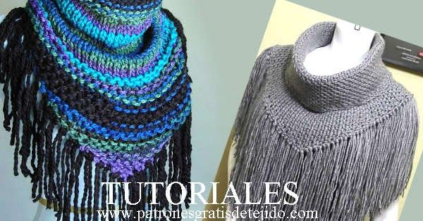 Cómo se tejen los cuellos terminados en pico con flecos, en dos agujas y en crochet, con explicaciones detalladas en español