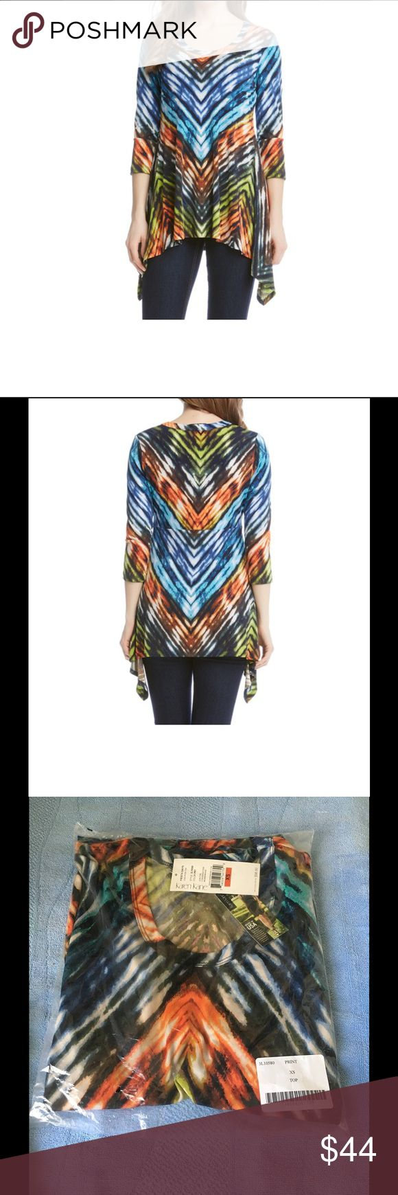 Karen Kane Fiesta Chevron Handkerchief Top Not only is this new with tag but it's in the original packaging, never opened. Beautiful multi color handkerchief hem top by none other than Karen Kane. Karen Kane Tops